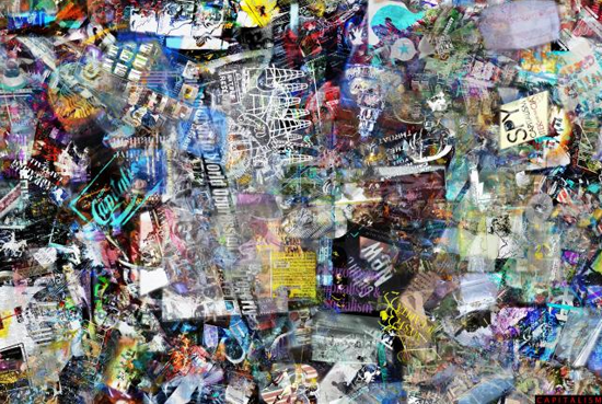 After collecting images for 90 minutes, a software program fixes a random sampling of that data set into a collage.