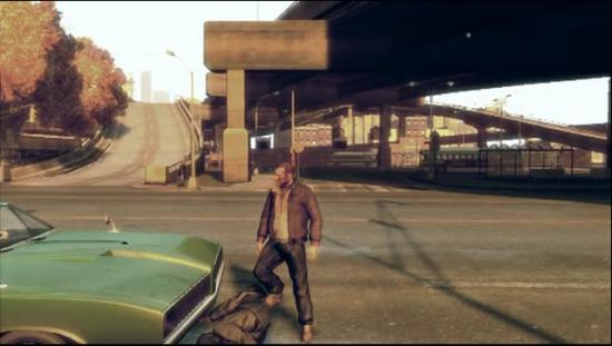 A film still of a Grand Theft Auto Short film on game violence