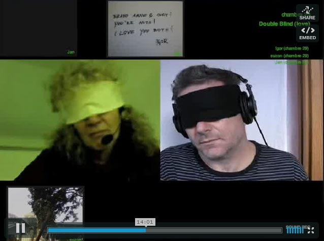 Video still of two blindfolded people