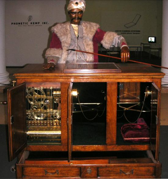 reconstruction of the Turk, the a chess-playing automaton designed by Kempelen, from Wikipedia