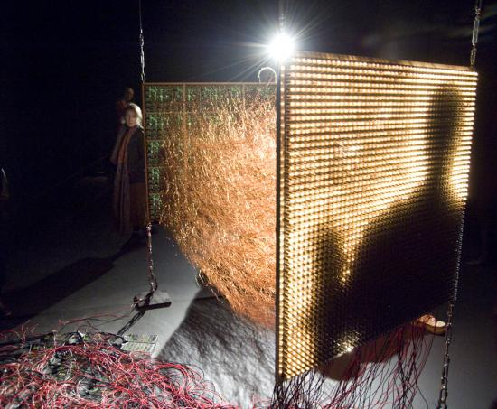 An electronic camera obscura and media-archaeological, interactive sculpture.