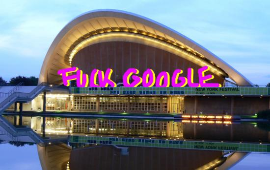 For Transmediale.10 they presented a project called Fuck google, one of their more involved works, appropriating the image of Haus der Kultur der Welt, the futuristic bulding hosting Transmediale, formerly known as the Kongresshalle conference hall,