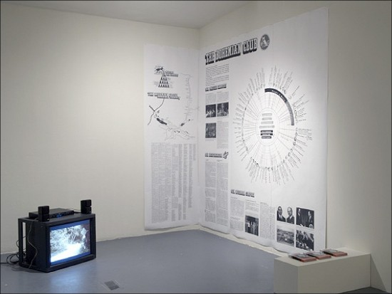 The Paris-based conceptual group, Bureau d'etudes, works intensively in two dimensions. In 2003 for an exhibition called 'Planet of the Apes' they created integrated wall charts of the ownership ties between transnational organizations, a synoptic view of the world monetary game. Check the article 'Cartography of Excess (Bureau Bureau d'etudes, Multiplicity)' written on Mute by Brian Holmes in 2003.