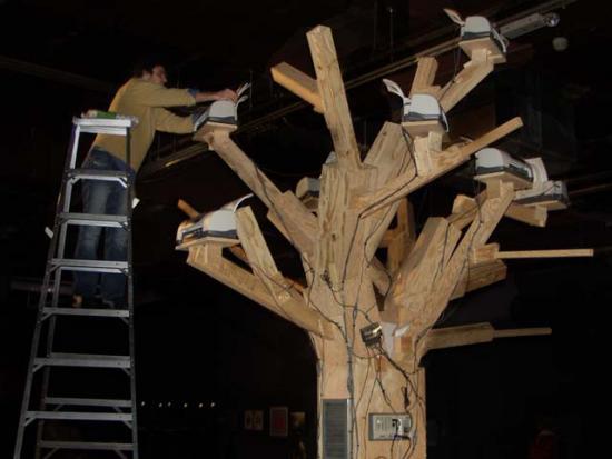 Detail, filling the paper of Endnode (aka Printer Tree). November 23, 2002. Eyebeam Atelier.