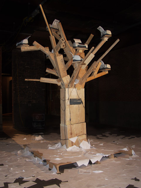 Front view of Endnode (aka Printer Tree). November 23, 2002 during the Beta Launch exhibition. Eyebeam Atelier.