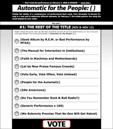 Poster for, Automatic for the People: ( ), conducted from November 8, 2008 to February 7, 2009