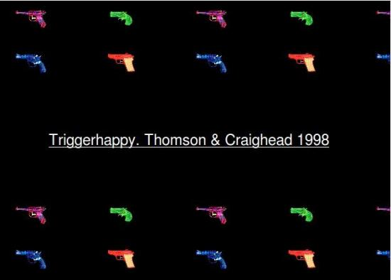 Triggerhappy is work that explores the relationship between hyper-text, author and reader