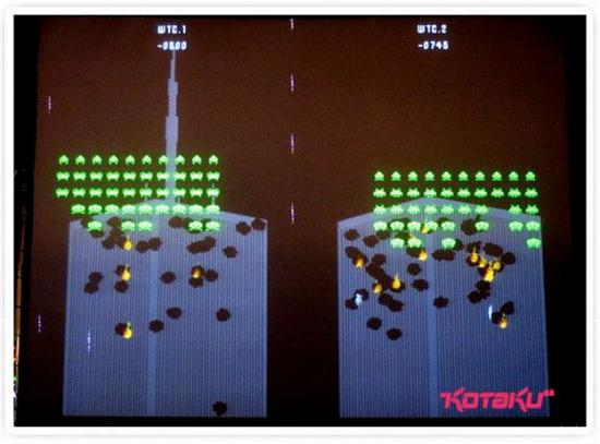 A modernized version of 'Space Invaders', the artist Douglas Edric Stanely located the scenario in the game to the Twin Towers in New York