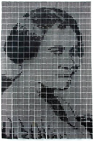 1/3 Sonya Clark, Madam CJ Walker (large), 2008, plastic combs, 132 x 96 x 8 in.