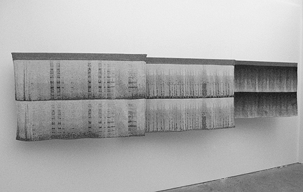 "Soundw(e)ave, generative weaves, triptych (each 34"" x 54""). Christy Matson, 2004."