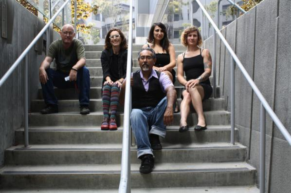 The team which developed the TBT. Back, left to right: Brett Stalbaum, Amy Sara Carroll, Elle Mehrmand, Micha Cardenas; front, Ricardo Dominguez.