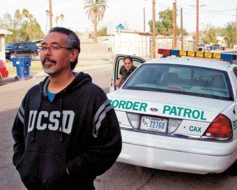 Ricardo Dominguez and border patrol; image courtesy Brett Stalbaum