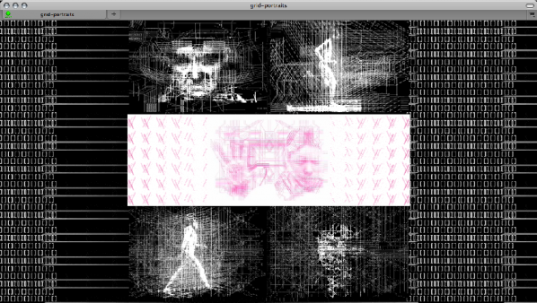 """grid-portraits_screencap. """"grid-portraits"""" a website of various animations related to my experiments with stereoscopic """"wiggle"""", ascii art, and glitches. AB Miller. Link here..."""