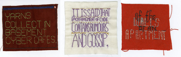 From 'Embroidered Digital Commons' by Ele Carpenter, 2009-2012
