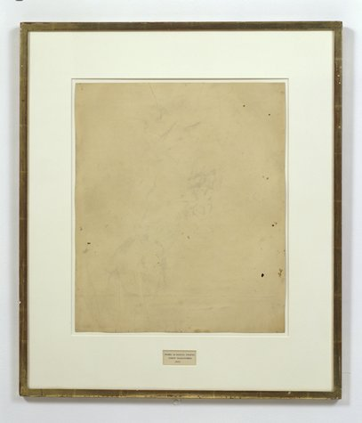 Robert Rauschenberg, Erased de Kooning Drawing, 1953;  drawing; traces  of ink and crayon on paper, mat, label, and gilded frame, 25 1/4 in. x 21 3/4 in. x 1/2 in. (64.14 cm x 55.25 cm x 1.27 cm); Collection SFMOMA.