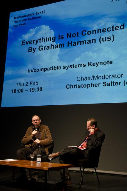 Graham Harman in coversation with Christopher Salter, transmediale 2k+12 © Genz