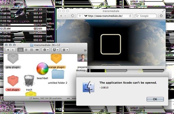 "Screenshot of the ""Prepared Desktop"" performance by artist jon.satrom, trasmediale 2k+12 © transmediale"