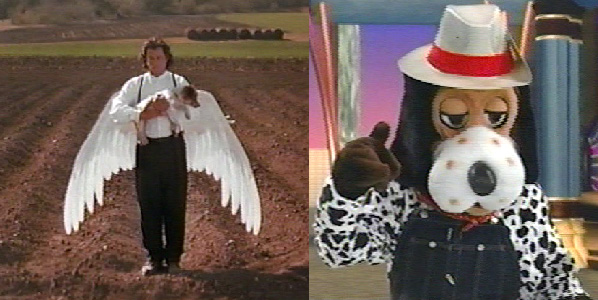 An image of an angel holding a dead dog beside an image of a dog-costumed person