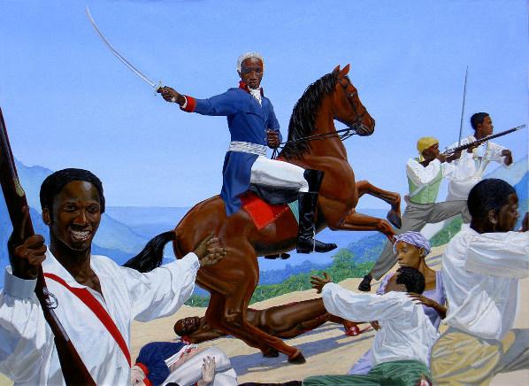 'Toussaint L'Ouverture at Bedourete' by K Donkor (2004), oil on linen, 136 x 183