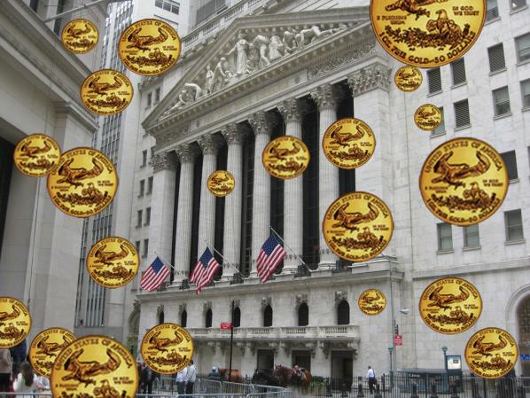 """Reign of Gold,"" New York Stock Exchange, Broad Street facade. Tamiko Theil."
