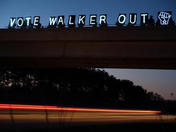 vote walker out - the Overpass Light Brigade