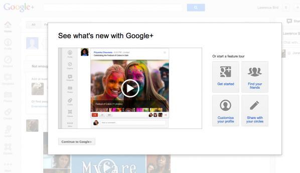 screen shot, Google Plus product tour (captured 2012).