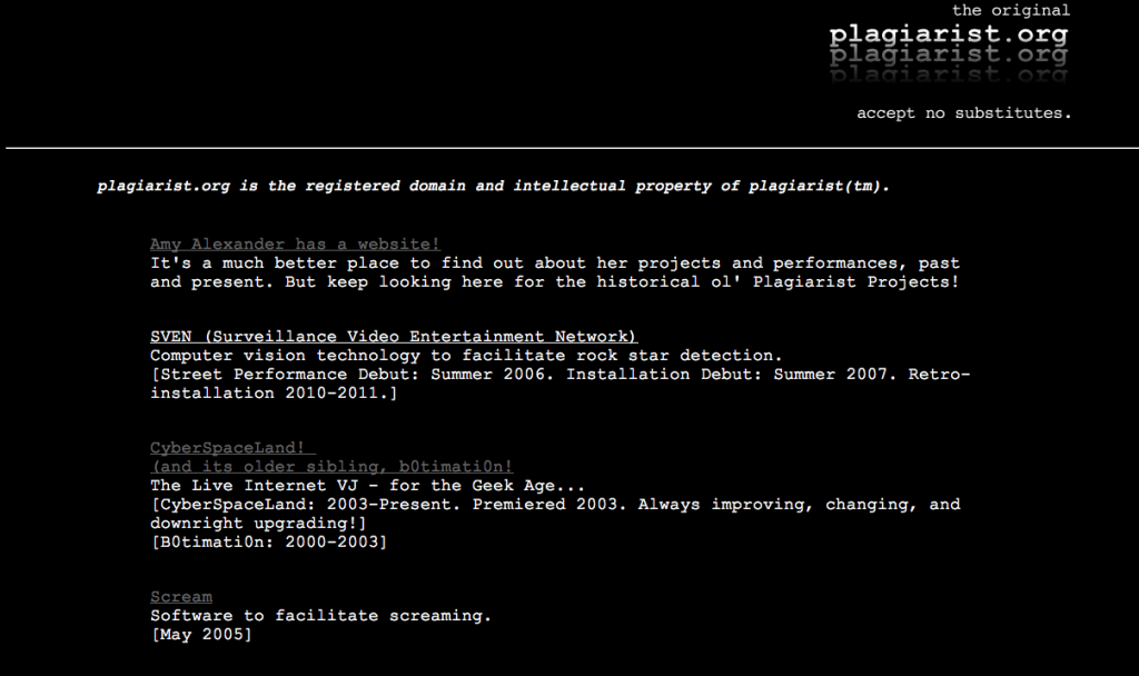 Screenshot of Plagarist.org from sometime in 1999.
