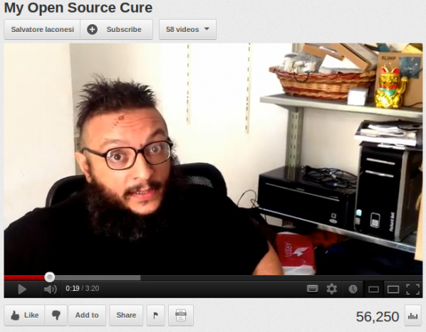 "Iaconesi's video on Youtube ""My Open Source Cure"". Click above image to watch video."