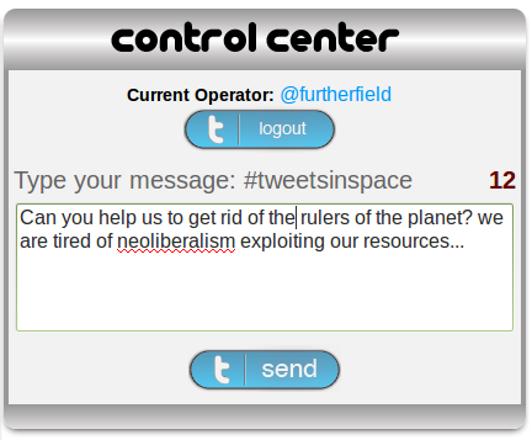 Furtherfield's first Tweet in Space.