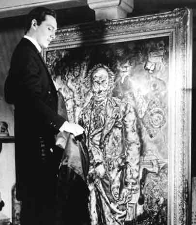 Dorian in front of his portrait in the 1945 film The Picture of Dorian Gray.[6]