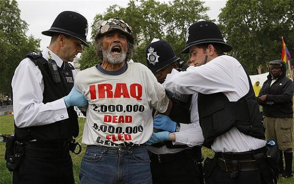 Haw under arrest before the State Opening of Parliament in 2010. Photo: Jeff Moore. Telegraph.[14]