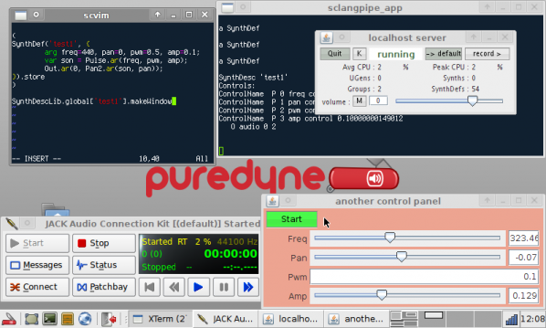 SuperCollider and JACK control on Puredyne http://puredyne.org/index.html