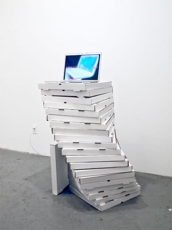 A Pizza Box Plinth. Jennifer Chan. VSVSVS Toronto. March 16 2012.