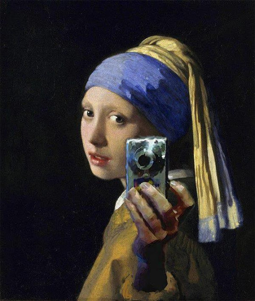 Girl with a Pearl Earring and a Silver Camera. Digital mashup after Johannes Vermeer, attributed to Mitchell Grafton. c.2012. [4]
