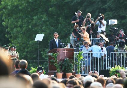 Barack Obama's speech in Germany in front of Berlin's Siegessäule. July 24th 20