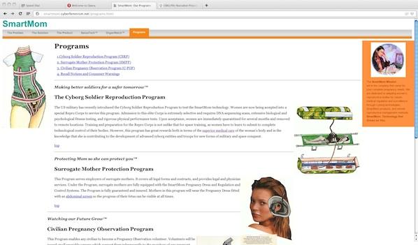 Smart Mom, website, subRosa, 2009