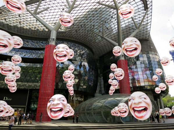 "Tamiko Thiel. ARt Critic Face Matrix"" at Ion Orchard, Orchard Road, Singapore, (DAW Singapore 2013)"