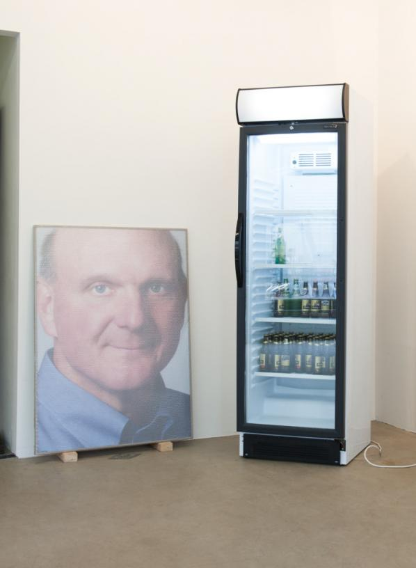 Steve Ballmer, by Jonas Lund. Made with a fridge and six crates of beer. Exhibition 'The Fear Of Missing Out'. 2013. Photographed by Lotte Stekelenburg.