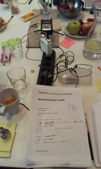 Work table for the Habbakuk expert meeting at OS Kantine, Budapest