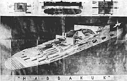 Drawing of the proposed Habbakuk aircraft carrier.