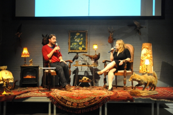 Brendan Cormier and Michelle Kasprzak on stage at V2_ for Blowup: Innovation in Extreme Scenarios. Photo by Jan Nass.
