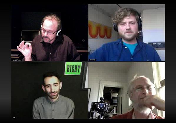 clockwise from upper left: Randall Packer, Jon Satrom, Paul Hertz, Nick Briz