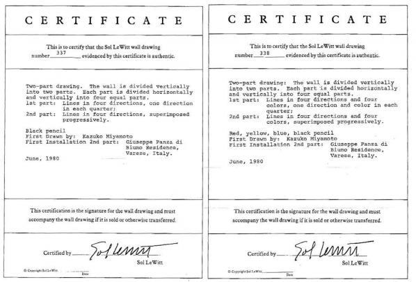 sol lewitt, certificates, 1980