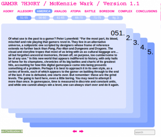 McKenzie Wark's GAM3R 7H30RY 1.1, the networked book launched May 22, 2006.