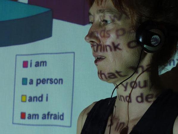 "Helen Varley Jamieson performing ""make-shift,"" Brisbane, 2012; photo by Suzon Fuks"