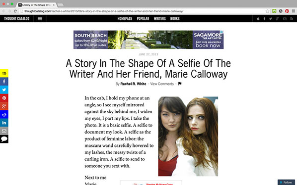 A Story In The Shape Of A Selfie Of The Writer And Her Friend, Marie Calloway by