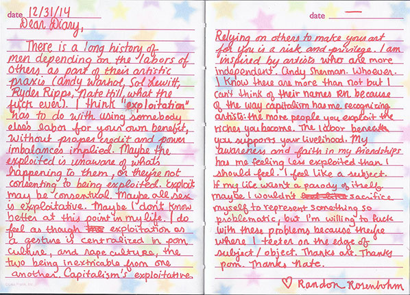 Scanned Diary Entry About Exploitation 12/31/14 by Randon Rosenbohm, 2014, writi