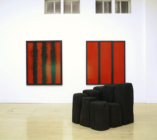 Installation view of David Nash: New Work, October 9 – November 8, 2008 at Haines Gallery.
