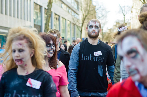 """High Street Casualties: Ellie Harrison's Zombie Walk"" event at Ort Gallery on 11 April 2015, photograph by Marcin Sz"