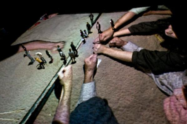 "Rafael Lozano-Hemmer, ""Sandbox, Relational Architecture 17"", 2010. Glow Festival, Santa Monica, USA. Photo by: Antimodular Research."